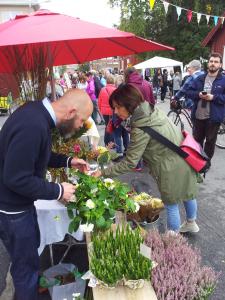 Daniel säljer blommor på Pilgatans kulturmarknad. Linné och Grankvist