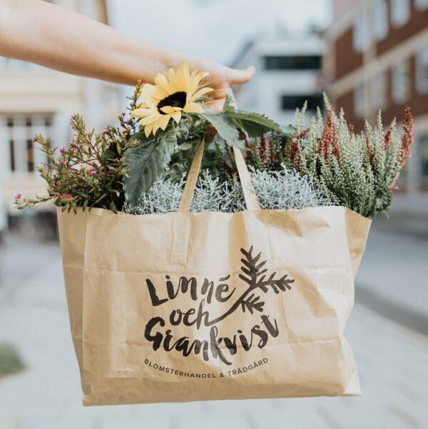 Höstkassen. En papperskasse med höstiga blommor för utplantering.